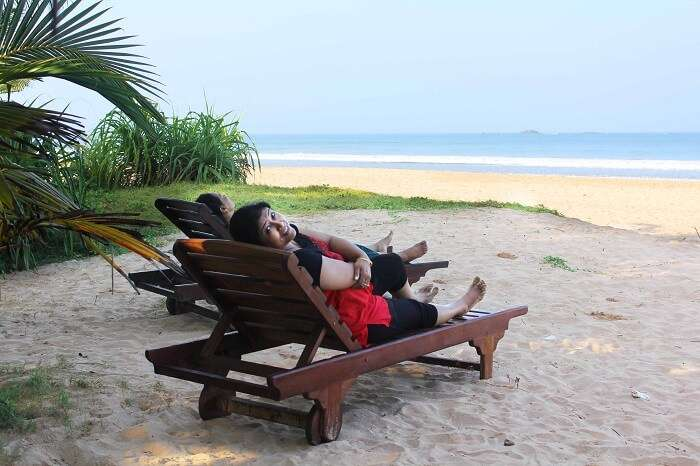 Kanikas family on a beach in Yala