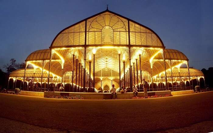 Iridescent Lalbagh Glasshouse at night in Bangalore - the ultimate tourist place in Karnataka