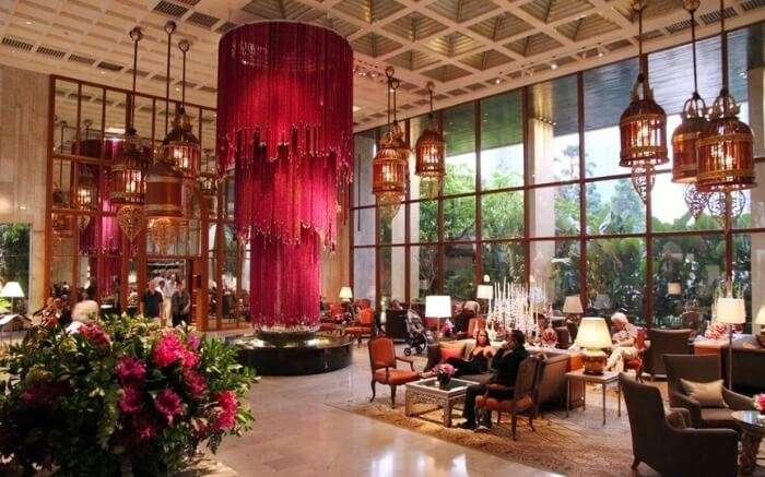 Opulent lobby of Oriental Hotel Bangkok