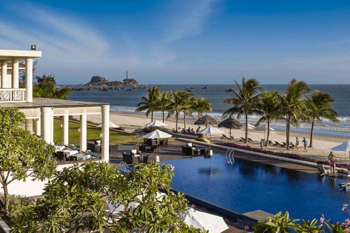 Aerial view of the Princess D'Ân Nam resort and Spa