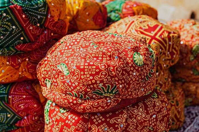 Colorful Rajasthani turbans at Rajasthali - One of the best shopping places in Udaipur