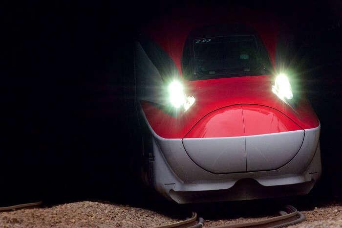 A snap of the Shinkansen bullet train exiting a tunnel