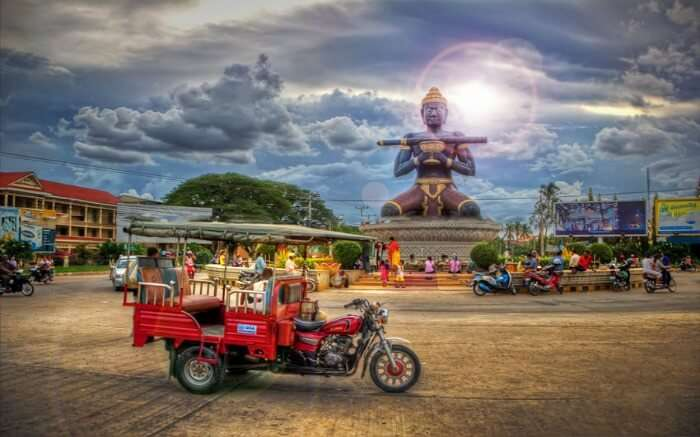 An eclectic mix of Thai and French colonial buildings at Battambang