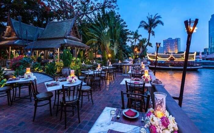 Open air and sea side Thiptara Thai Restaurant at the Peninsula Hotel