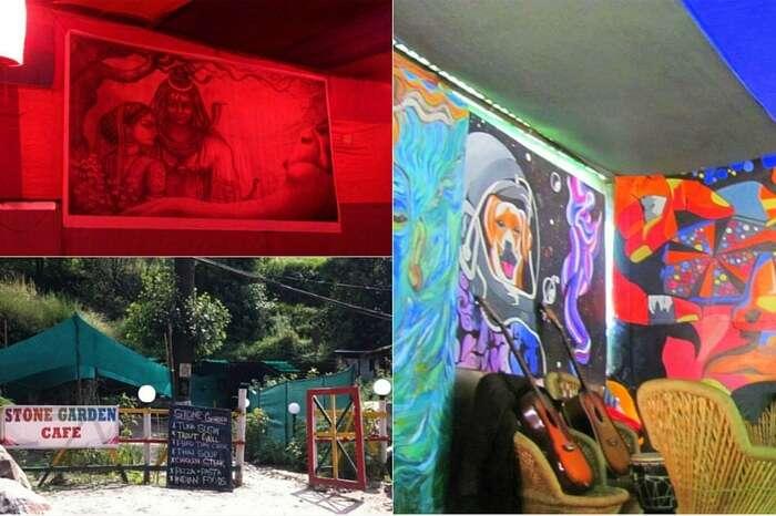 Graffiti adorning the wall of Stone Garden Cafe
