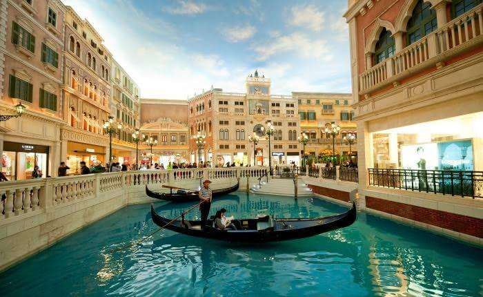 Tourists having a gala time in a popular Macau tourist attraction, The Venetian