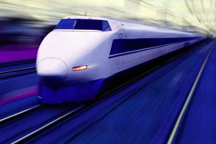 A representative image of a speeding bullet train in India