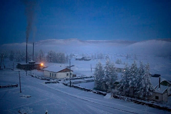 A snap of the Oymyakon village with a heating plant snapped during winters