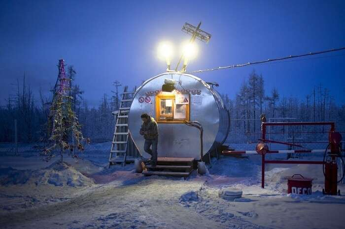 A snap of the petrol pump in Oymyakon during winters