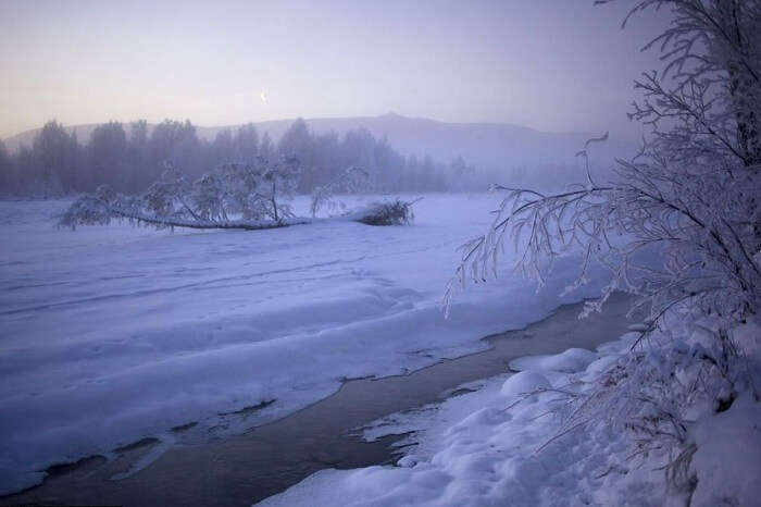 A snap of the thermal spring in Oymyakon during winters