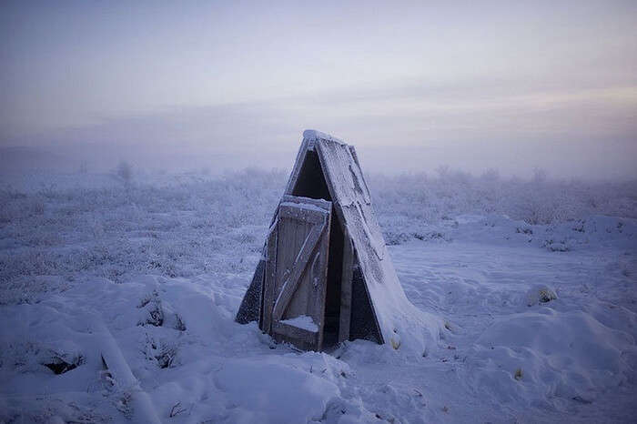 An outhouse toilet in Oymyakon snapped during the winter months