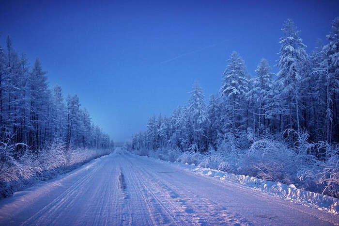 The snow-covered Road of Bones in Oymyakon during winters