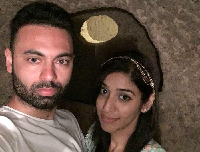 Jasmeet andher husband click a selfie in the Underground city in Derinkuyu