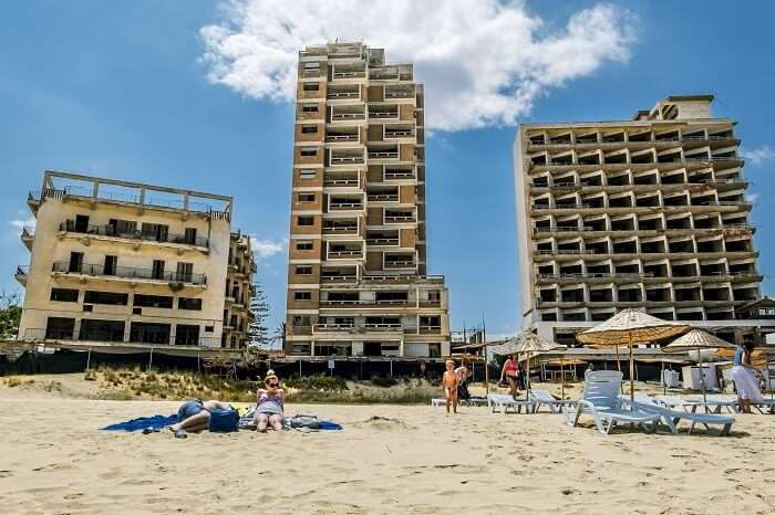 Abandoned hotels and the beach at Varosha in Famagusta in Northern Cyprus