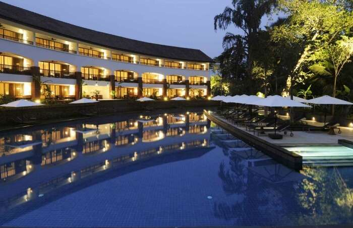 Lounge by the pool at the back of the Alila Diwa Goa
