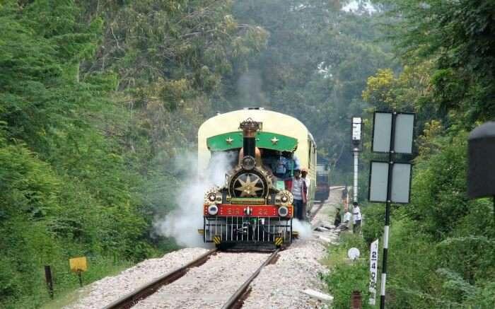Fairy Queen Express rambling through the lush green hills