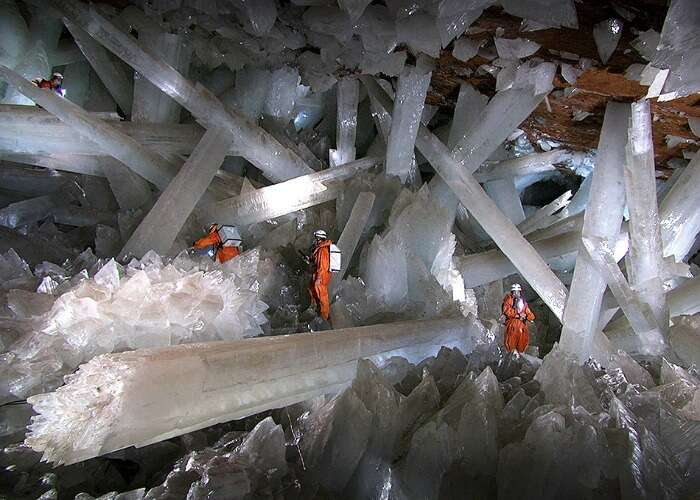 Glistening view of the shiny mineral pillars