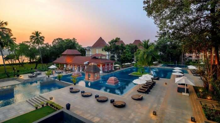 The outdoor free-form pool of the Grand Hyatt Goa