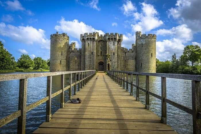 The historic Bodiam Castle and moat in East Sussex in England