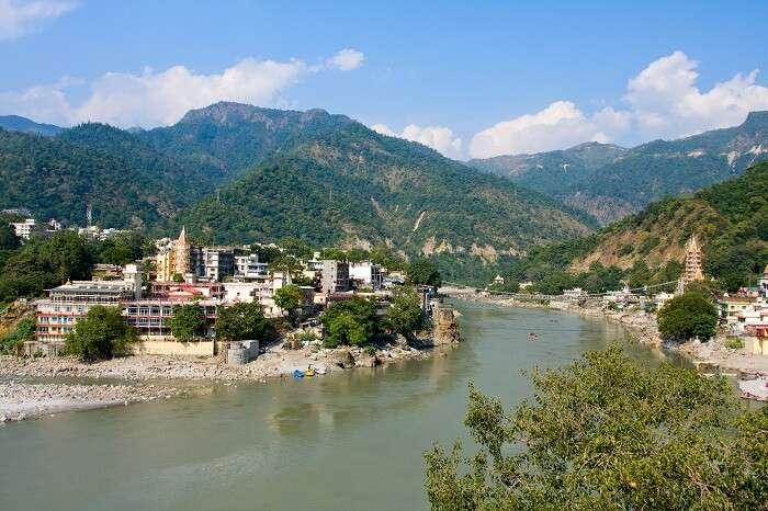 Holy Ganges river that flows through Rishikesh