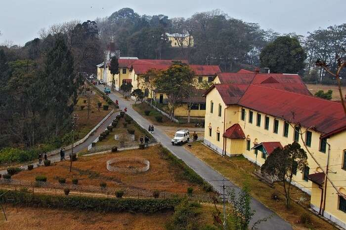 An aerial shot of the Dr Graham's Home School at Kalimpong