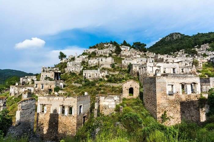 The ruins of the abandoned Kayakoy town in Turkey