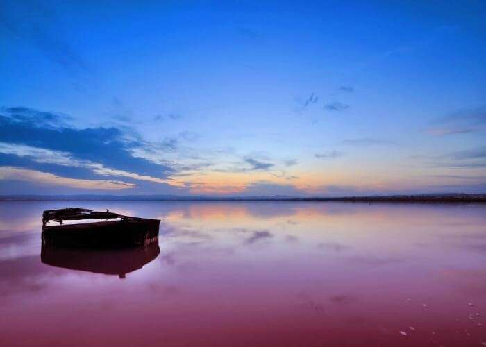 Mesmerizing view of the pink waters at Retba Lake