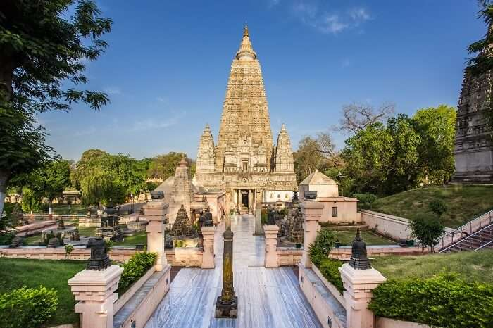 The Mahabodhi Temple in Bodh Gaya where Lord Buddha attained enlightenment