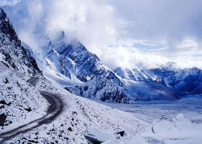 The scenic splendour of the snow laden Marhi