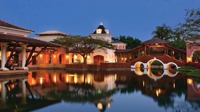The poolside lagoon of the Park Hyatt Goa Resort and Spa