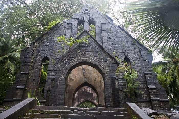 Ruins of an old British church at Ross Island