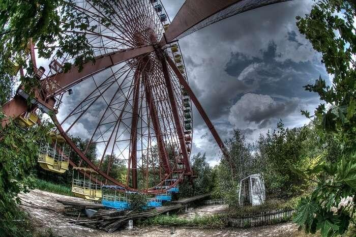 The spooky looking Spreepark amusement park at Berlin in Germany
