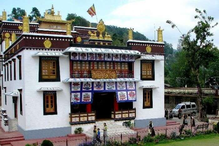 A view of Tharpa Choling Monastery