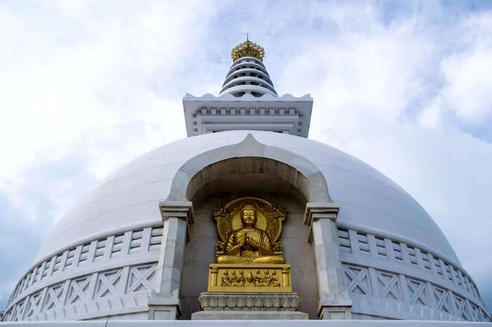 Front view of Shanti Stupa in Rajgir - Bihar