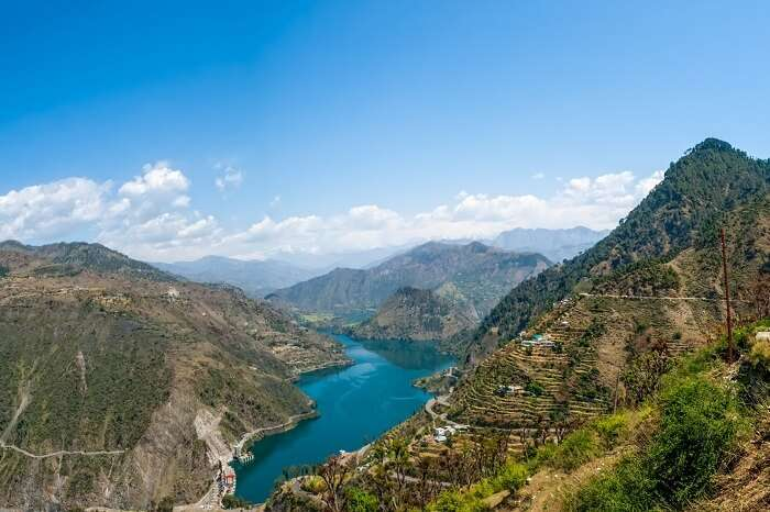Beautiful Tehri Lake amidst the mountains of Chamba in Himachal