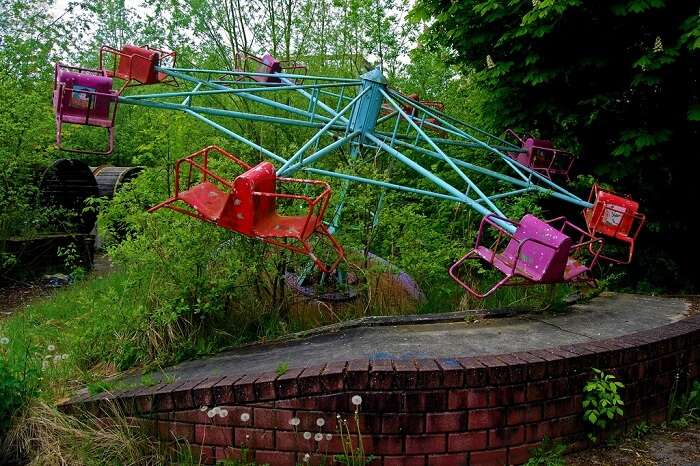 Plants growing through one of the rides at the Dadipark in Belgium