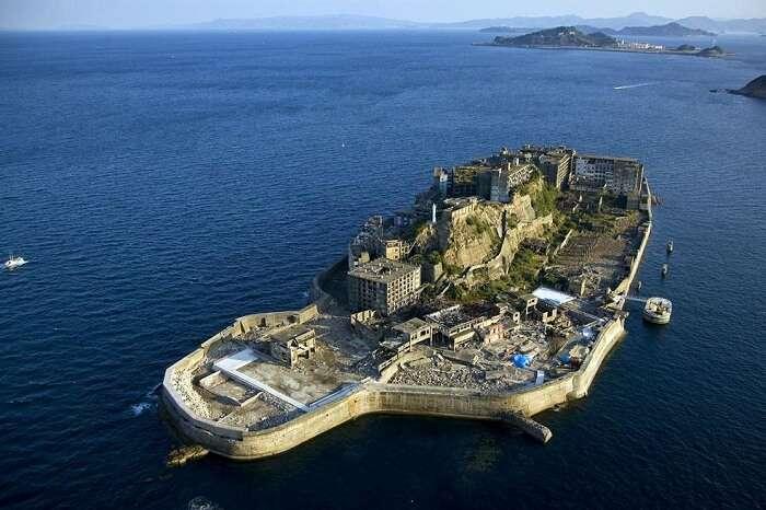 Bird eye view of the abandoned Hashima Island in Nagasaki region of Japan