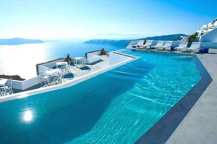Pool overlooking the ocean in Santorini