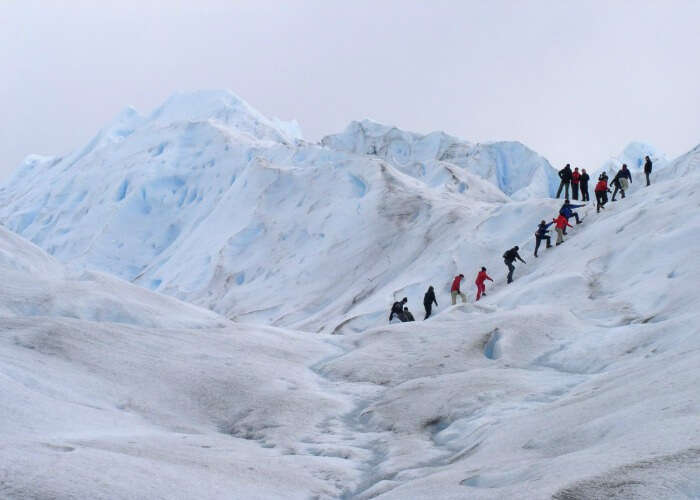Trek up the icy slopes