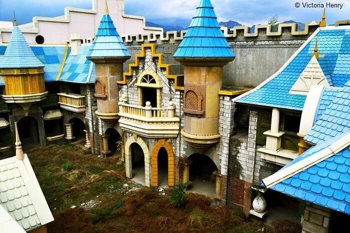 A beautiful shot of the abandoned Wonderland Amusement Park in Beijing