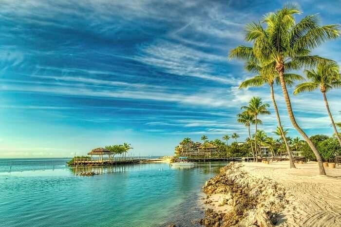 A view of a chic beach resort at Islamorada
