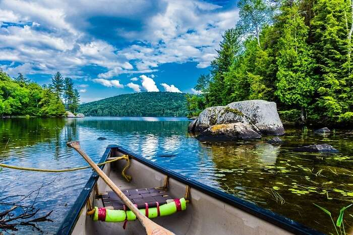 Canoeing in a river in Quebec