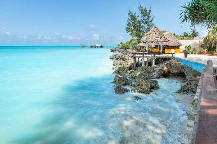 A beautiful snap of huts on the beach of Zanzibar