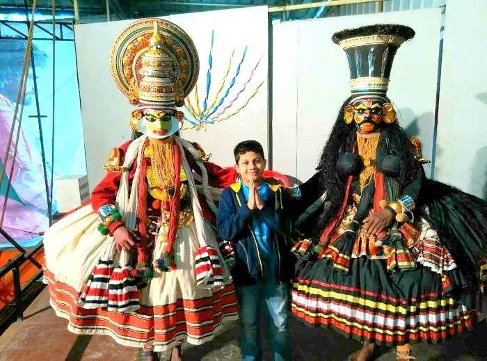 Gurudath and his family enjoying Kathakali