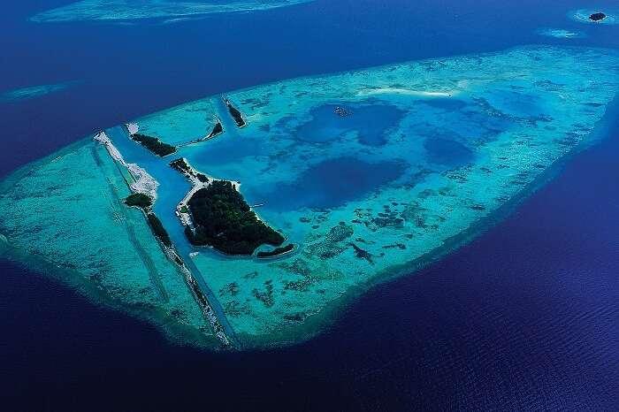 An aerial view of the blue waters surrounding the Kepulauan Seribu