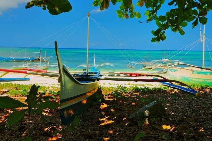 Boats docked at the Pamalican Island