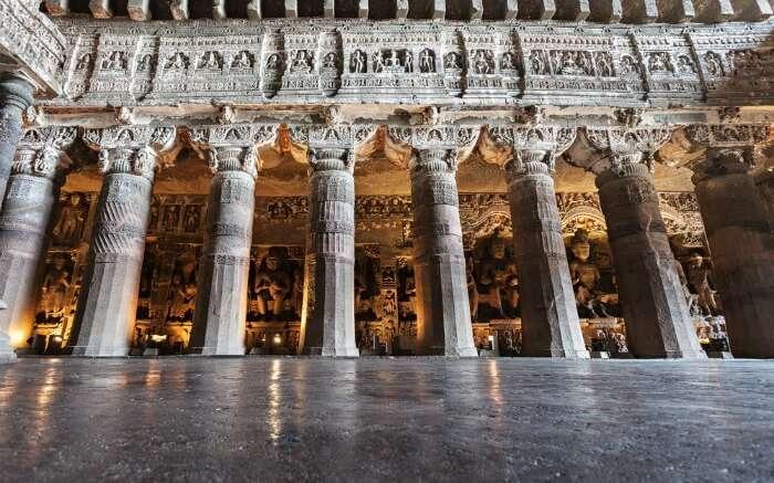 Ornate pillars in Ajanta Caves