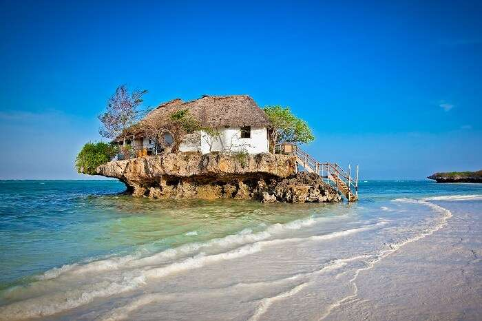 Rock Restaurant over the sea in Zanzibar