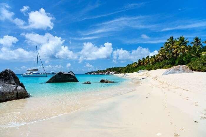 Stunning beach at Virgin Gorda on the British Virgin Islands in Caribbean