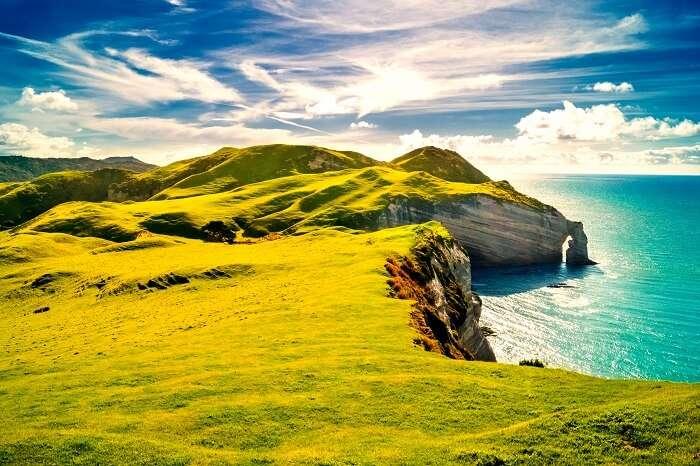 Sunlit Dingle coast in Ireland
